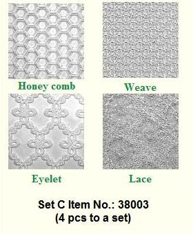 IMPRESSION MAT SET OF 4; HONEYCOMB, WEAVE, EYELET & LACE.