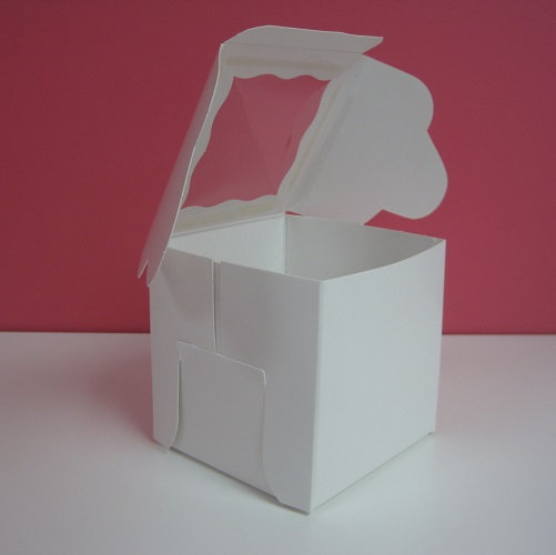 4x4 single white cupcake box