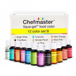 12 Color Kit B 0.7 oz Liqua-Gel Food Color by Chefmaster