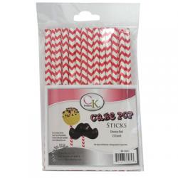 "Cake Pop Sticks Chevron Red 6"" - pkg 25"