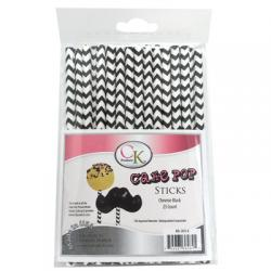 "Cake Pop Sticks Chevron Black 6"" - pkg 25"